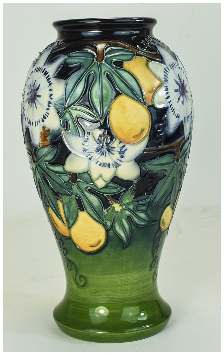 Moorcroft Tube lined Modern Vase ' Passion Fruit '
