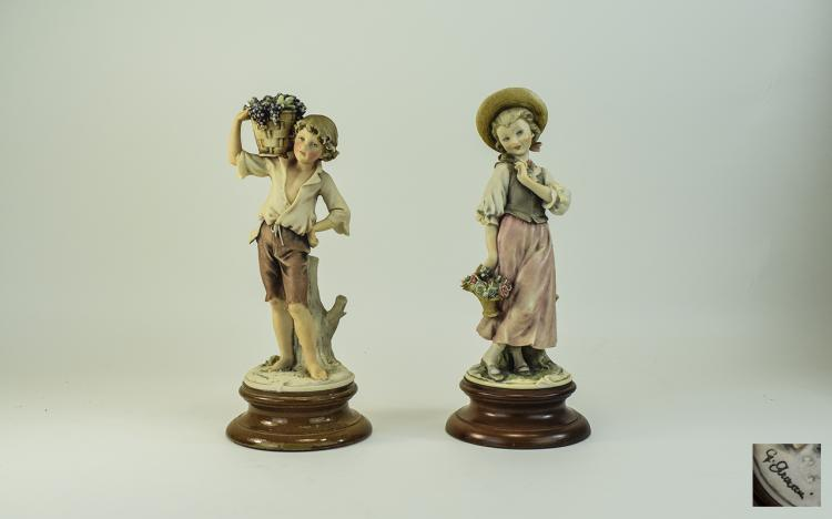 Capodimonte Pair of Signed Figures of Young People