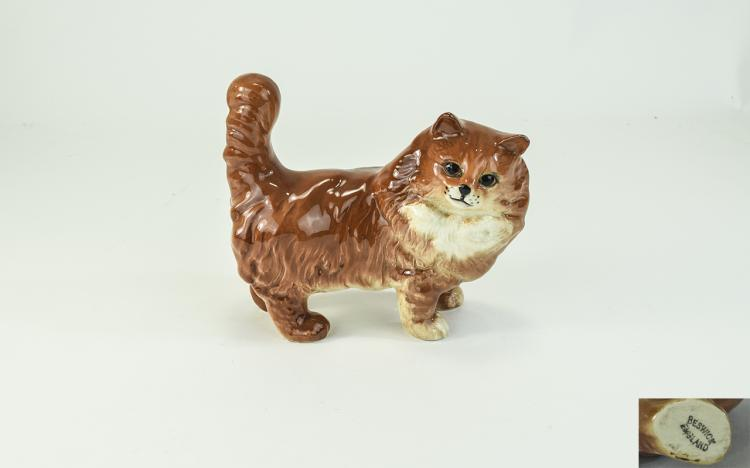 Beswick Cat Figure ' Persian Cat ' - Ginger Colour