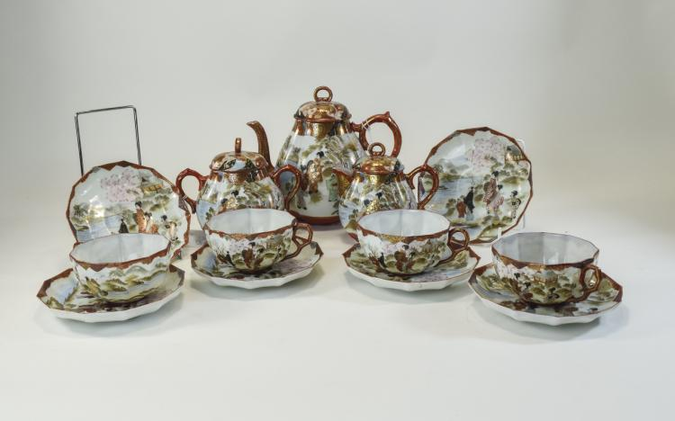 Japanese Very Fine Porcelain ( 13 ) Piece Tea Serv