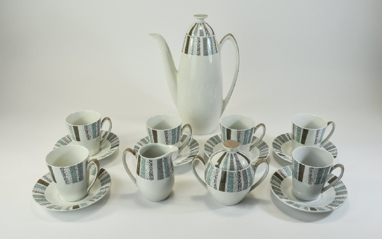Burleigh Ware Retro 1950's ( 15 ) Piece Coffee Set