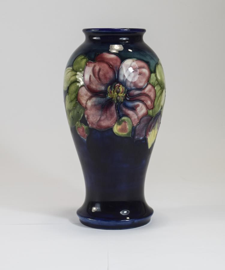 W. Moorcroft Signed Vase ' Clematis ' Design on Em