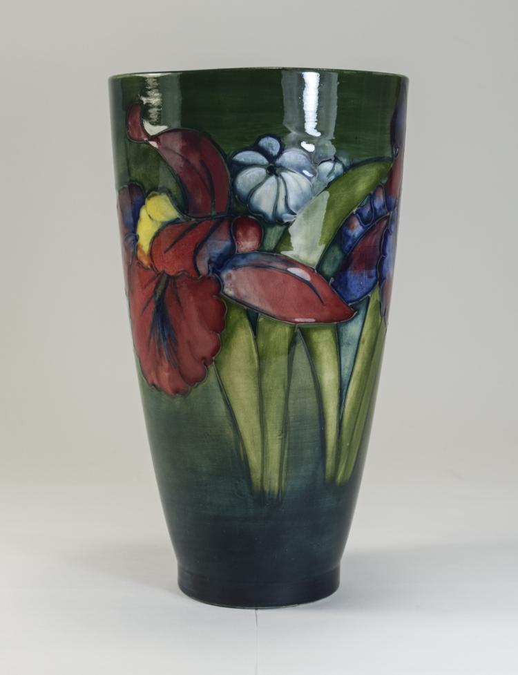 Moorcroft Vase ' Orchids ' Design on Green / Blue