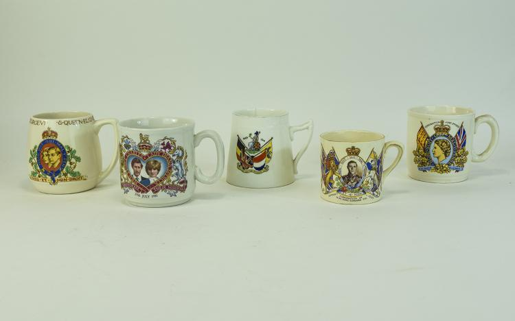 Five Commemorative Porcelain Cups. Comprising Coro