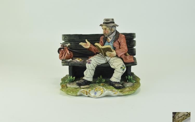 Capodimonte Early and Signed Figure ' Tramp on a