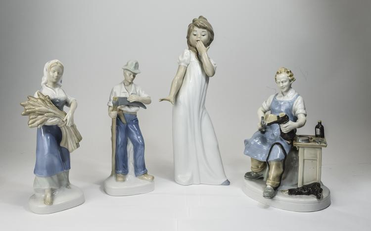 4 Assorted Lladro figures. Assorted sizes.