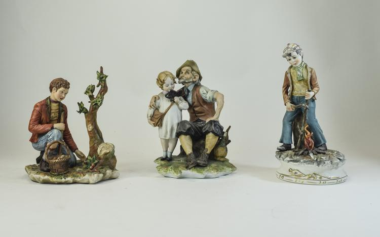 Capodimonte Signed Figures ( 3 ) In Total - Please