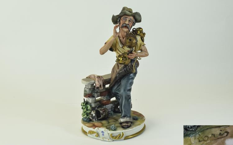 Capodimonte Early and Signed Figure ' A Seller of