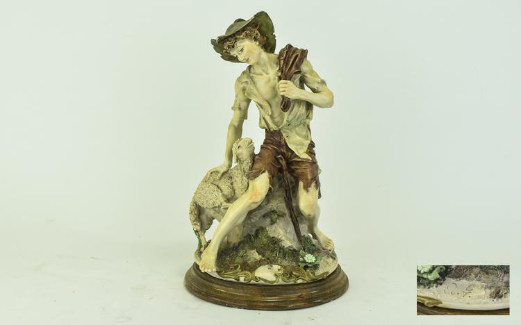 Capodimonte Signed Figure ' Shepherd and Lamb ' Ra