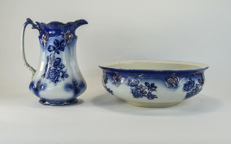 Staffordshire Transfer Printed Wash Bowl and Jug.