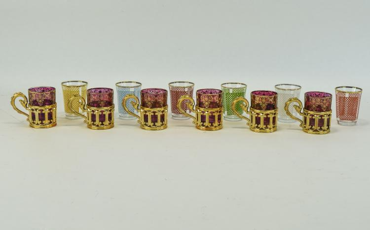 A Set of Six Vintage Murano Style Liqueur Glasses