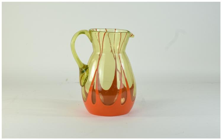 Michael Powolny Style Water Jug In Lime With Orang