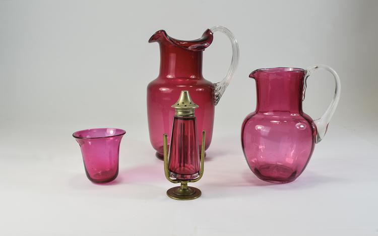 4 Pieces of Assorted Cranberry Glass  Including 2
