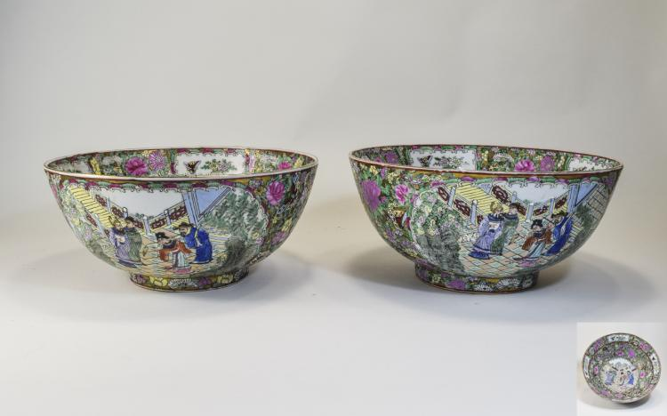 Large Pair Of Chinese Famille Rose Bowls Decorated