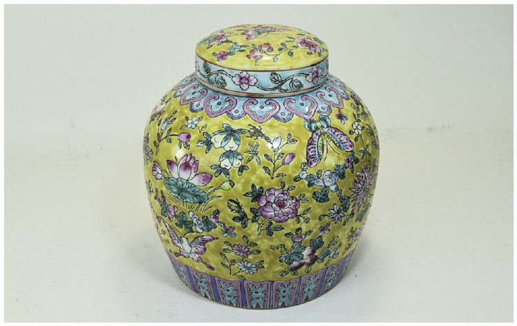 Chinese Early 20th Century Lidded Ginger Jar 'Fami