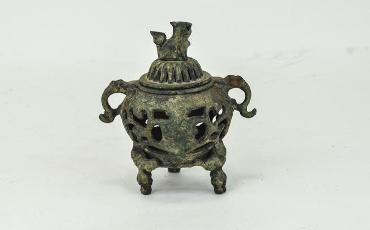 Oriental Bronzed Archaic Censer And Cover, Twin Ha