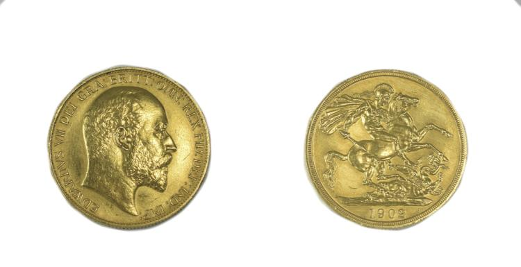 Edward VII 22ct Gold Two Pound Piece ( Double Sove