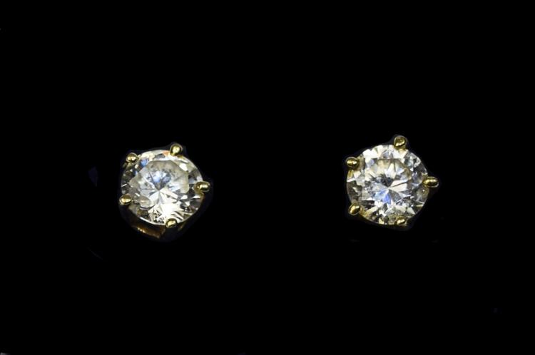 Ladies 9ct Gold Set Pair of Single Stone C.Z. Earr
