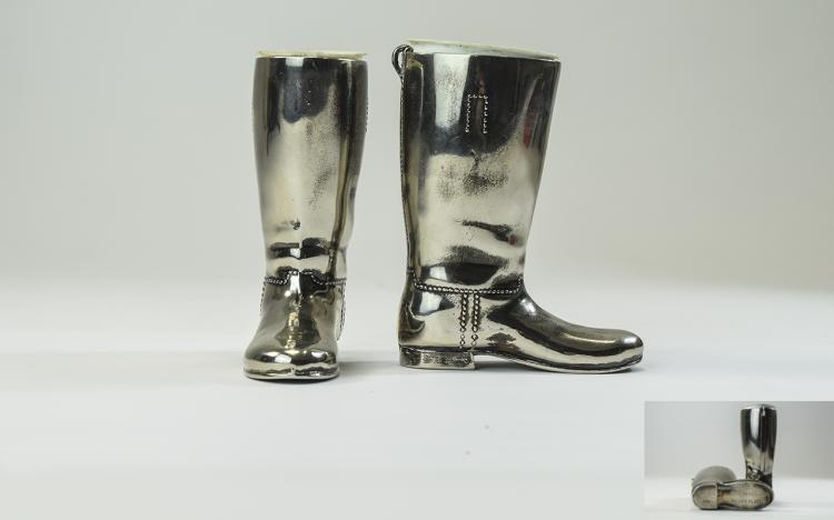 A Vintage Pair of Silver Plated Turret Cups, In Th