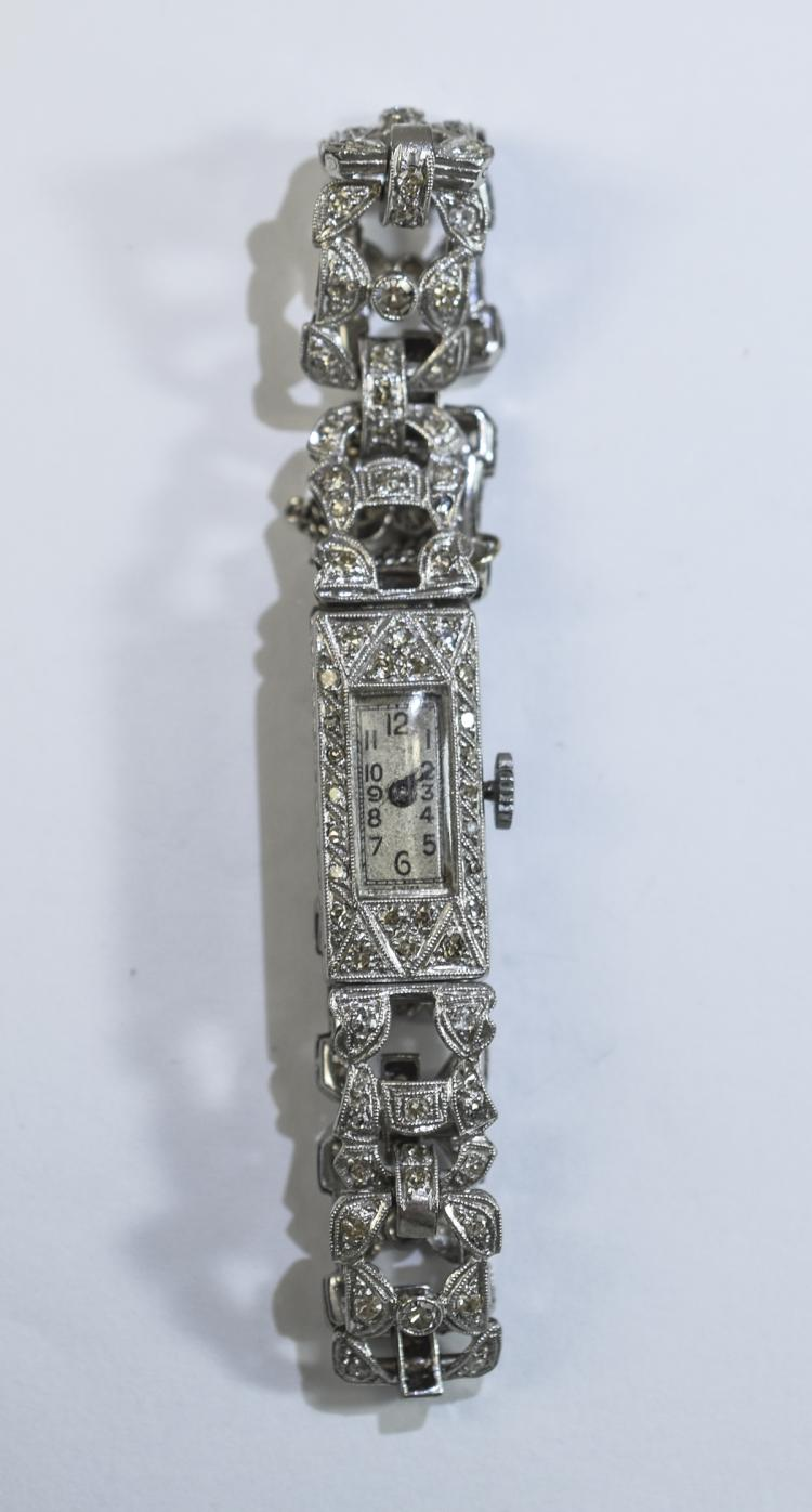 Platinum & Diamond Cocktail Watch. Art Deco Ladies