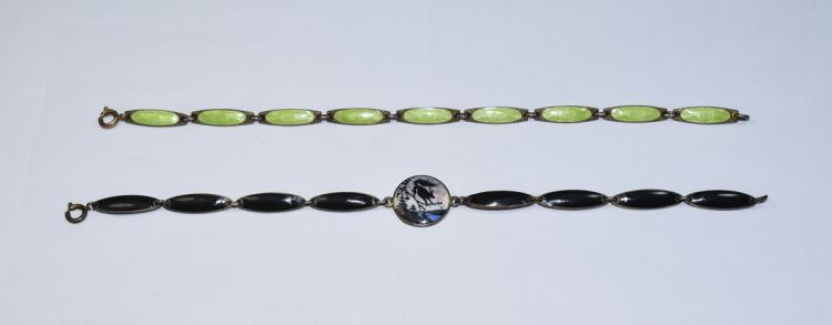 Art Deco Silver and Enamel Ladies Bracelet, Marked