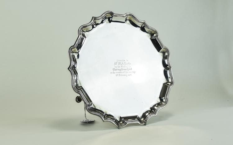 George V Sterling Silver Footed Tray, with Pie Cru