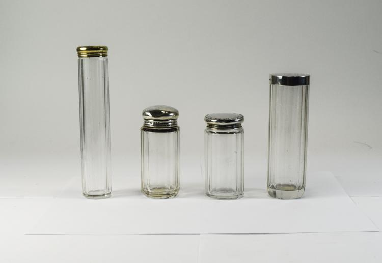Edwardian Matched Set of Silver Topped Glass Jars