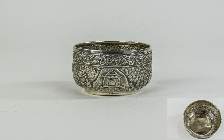 Indian Antique Silver Embossed and Chased Footed B