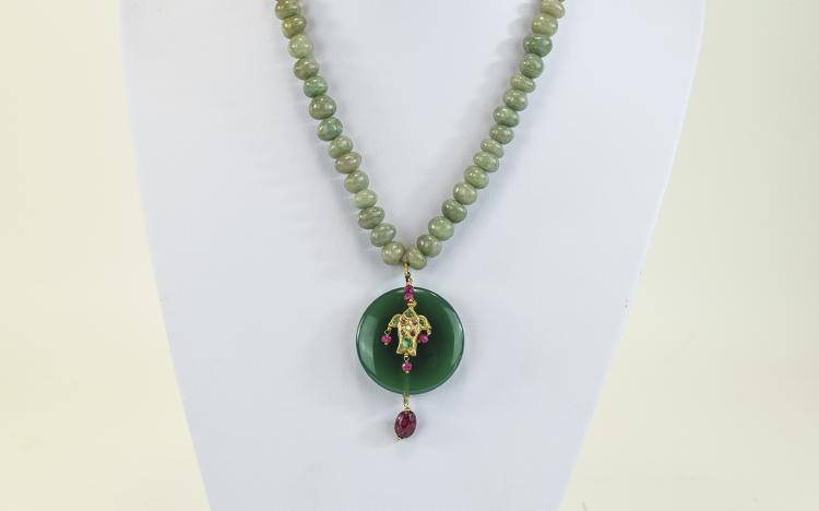 Early 20th Century Jadeite Necklace and Pendant; J