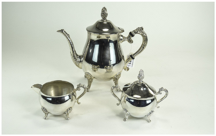 Silver Plated Three Piece Tea Set, Comprising Teap