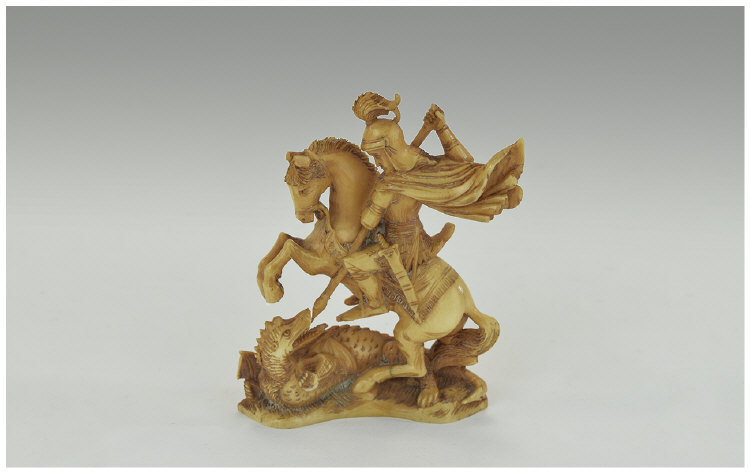 Indian Ivory Carving Of St George and the Dragon Height 3¼ Inches