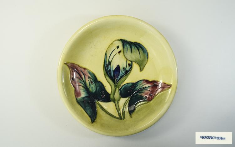 Moorcroft Shallow Bowl ' Arum Lily ' Pattern on Ye