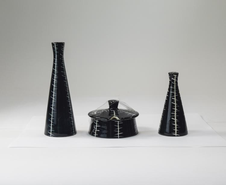 4 Piece Cruet Set, Black and White Pattern, Jessie