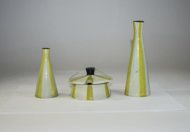 4 Piece Cruet Set, Yellow and Cream Pattern, Jessi