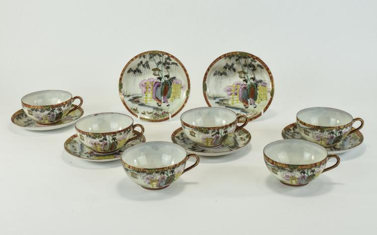 Japanese Fine Early 20th Century Satsuma Set of Si