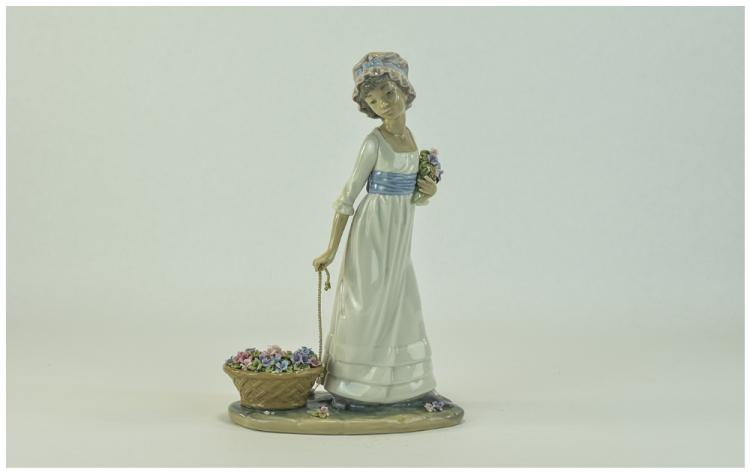 Lladro Figure with Flowers ' Wild Flower ' Model N