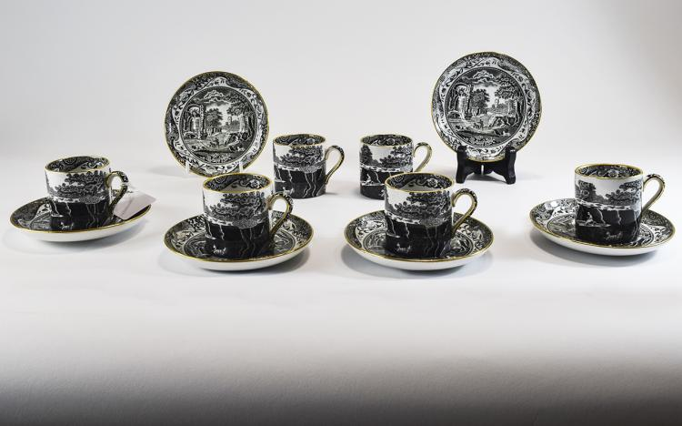 Spode Set of Six Demitasse Cups and Saucers, Black
