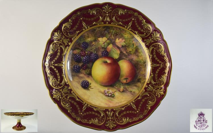 Royal Worcester Hand Painted and Impressive Tazza