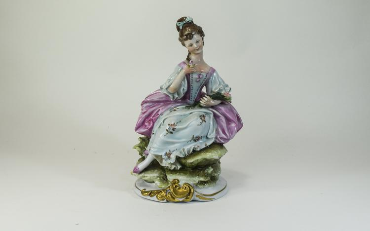 Capodimonte Figure of a Seated Girl, in 18th centu