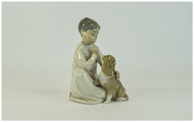 Lladro Figure ' Boy with Dog ' Model Num 4522. Iss