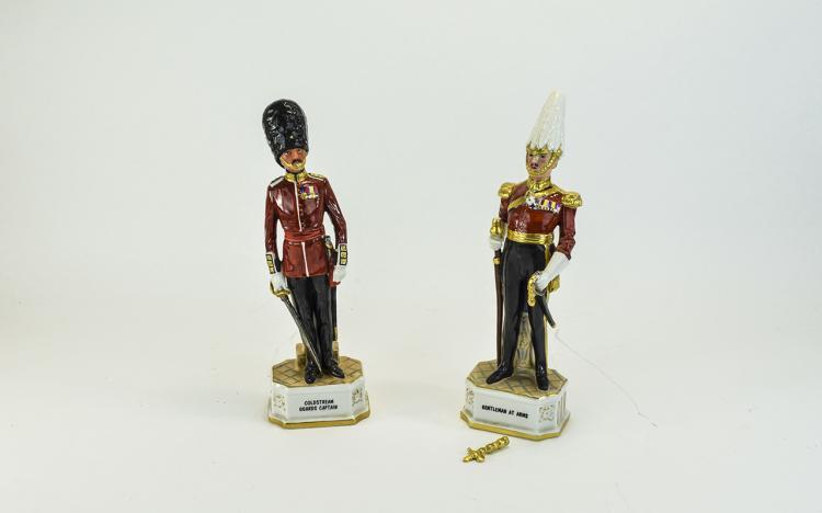 Pair of Capodimonte Style Figures of British Soldi
