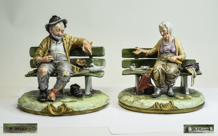 Pair of Capodimonte Glazed Figures of a Tramp Coup