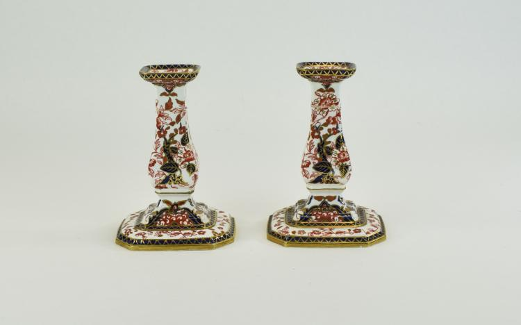 Royal Crown Derby Imari Pair of Candlesticks. c.18
