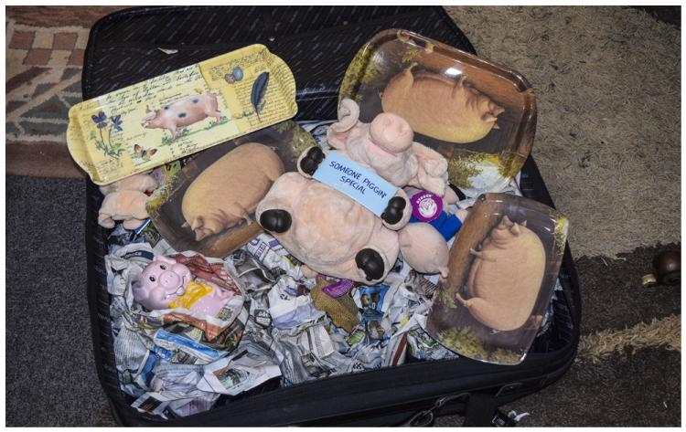 Suitcase containing a collection of Piggin Figures