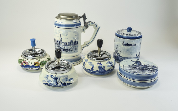 A Collection of Dutch Delft Hand Painted Assorted