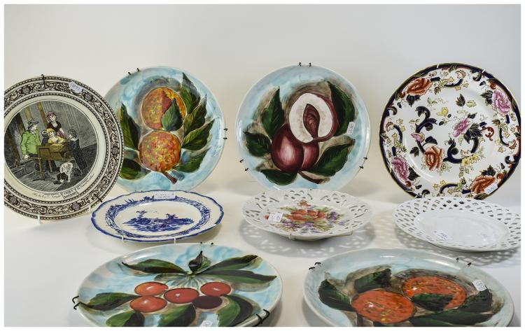 Collection Of 8 Cabinet Plates, Comprising 4 Itali