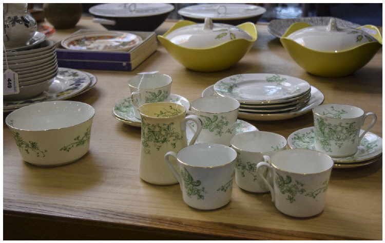 Green and White Floral Teaset (20) pieces in total