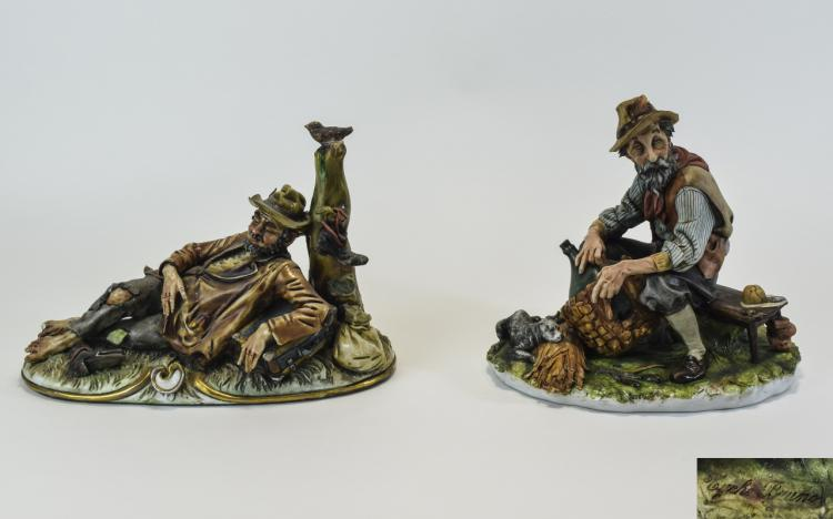 Capodimonte Signed Figures ( 2 ) In Total. 1/ Tram