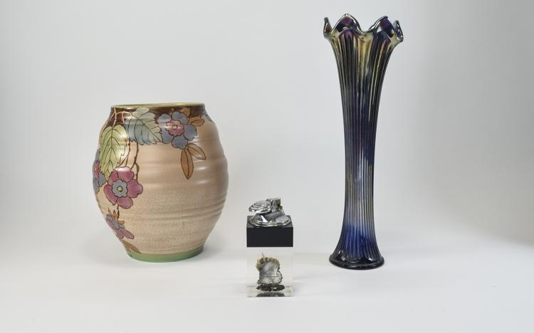 Small Mixed Lot Comprising An Art Deco Ribbed Vase