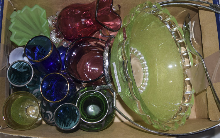 Mixed Box Of Coloured And Clear Glass, Odd Venetia